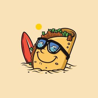 Tacos de desenhos animados estão relaxando na praia