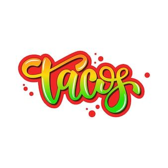Tacos de design de banner de letras