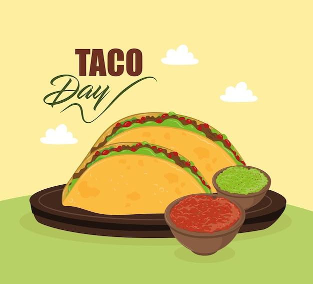 Tacos diurnos de taco com molhos