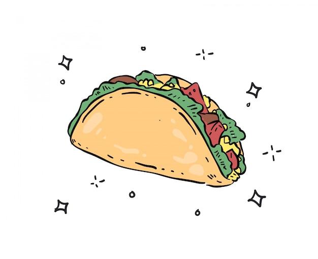 Tacos doodle ilustração