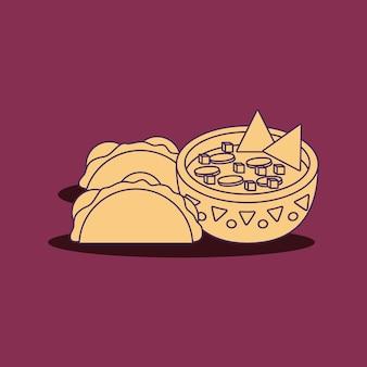 Tacos e bacia mexicanos do molho sobre o fundo roxo, linha colorida projeto. ilustração vetorial