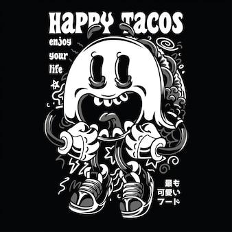 Tacos felizes preto n branco