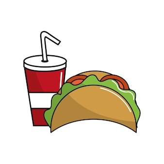 Tacos mexicanos com ícone de refrigerante