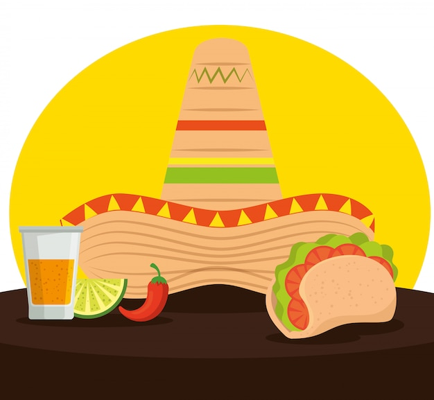Tacos mexicanos com tequila e chapéu para comemorar o evento