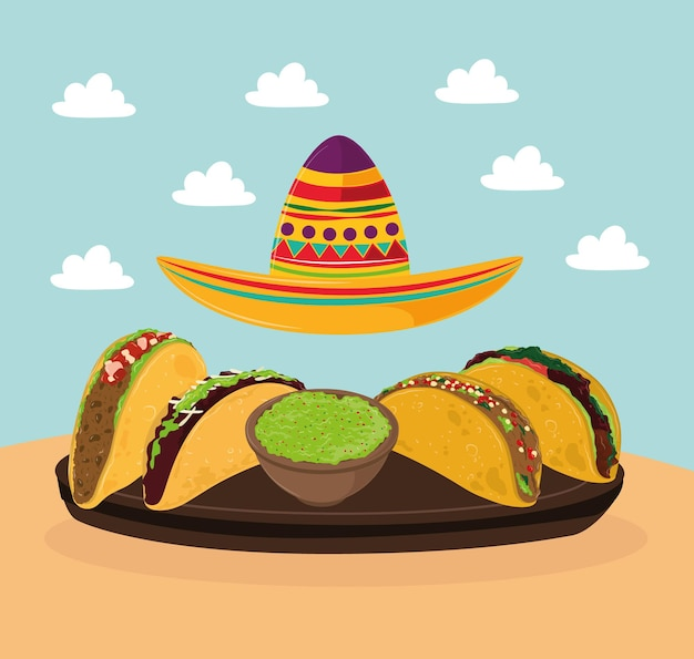 Tacos mexicanos e chapéu