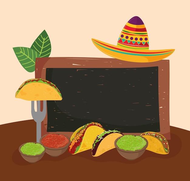 Tacos mexicanos e quadro-negro