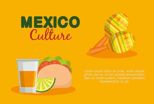 Tacos mexicanos e tequila com maracas para evento