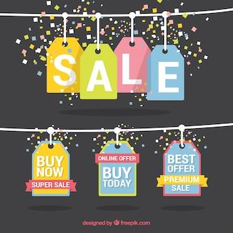 Tag da venda de compra coloridos