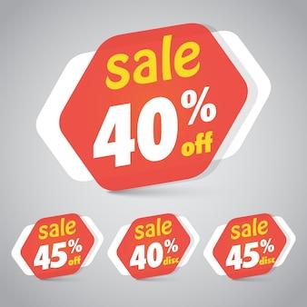 Tag de etiqueta de venda para design de design de varejo de marketing com 40% 45% de desconto.