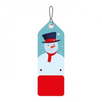 Tag de natal feliz pendurado com boneco de neve