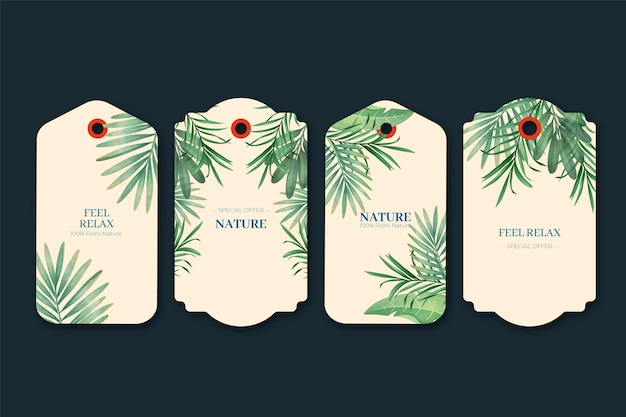 Tag de presente duotone de plantas exóticas