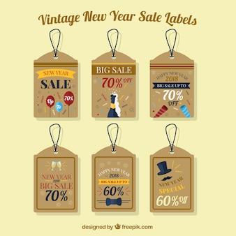 Tag de venda de ano novo vintage
