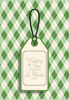 Tag do dia de saint patricks pendurado com fundo verde