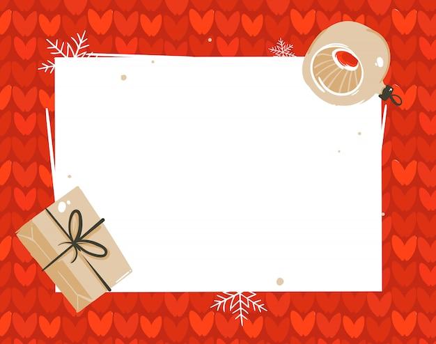 Tag do modelo do cartão das ilustrações do feliz natal e feliz ano novo com caixas de presente surpresa e lugar para o seu texto isolado no fundo branco