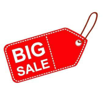 Tag em branco de retângulo vermelho de vetor com texto de grande venda, contorno de traço branco