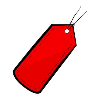 Tag em branco esboçado em vetor vermelho, isolada no branco