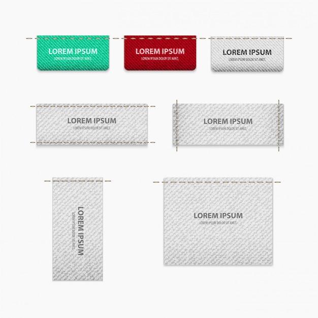 Tag set para roupas com textura para realismo com lugar para texto
