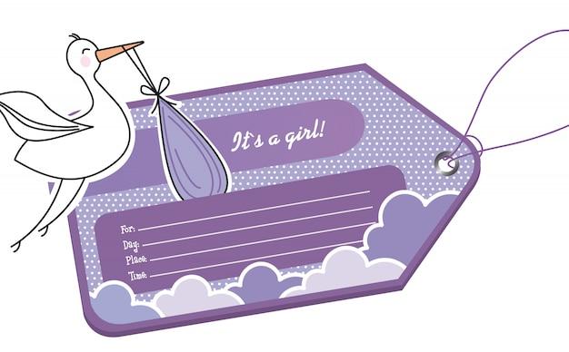 Tag violeta do chuveiro de bebê com cegonha