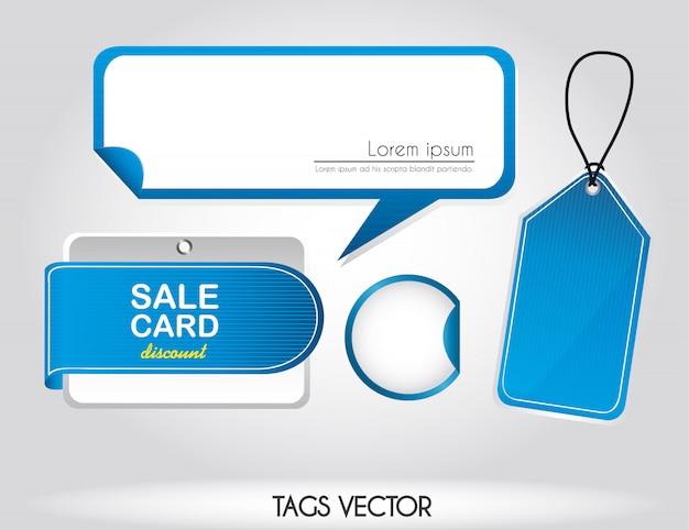 Tags azuis sobre ilustração em vetor venda fundo prata