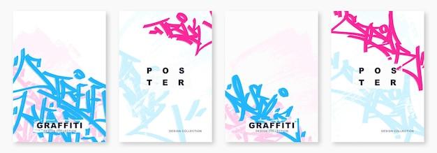 Tags brilhantes de graffiti com ilustração vetorial de marcador modelo de cartaz de arte de rua