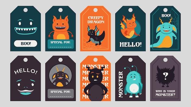 Tags da moda design com monstros engraçados. elementos ou criaturas assustadoras brilhantes com texto de saudação e animais. conceito de celebração e halloween. modelo para etiquetas de saudação ou cartão de convite