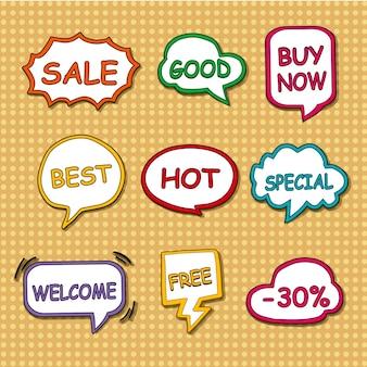 Tags de compras definem coleção sobre fundo pontilhado