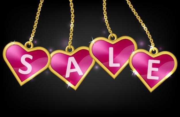 Tags de coração rosa com texto venda