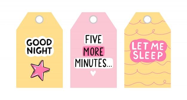 Tags de giro do vetor com citações do sono. coleção de cartas de vetor. projeto de etiquetas coloridas.