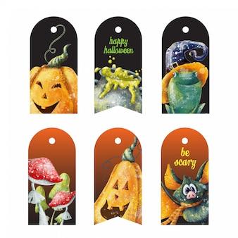 Tags de halloween com personagens assustadores de desenhos animados bonitos