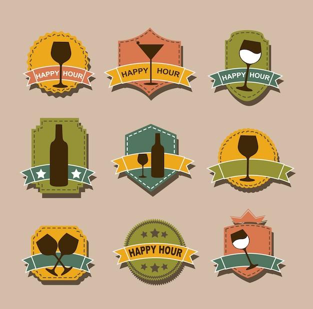 Tags de happy hour sobre ilustração vetorial de fundo marrom