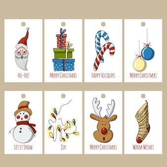 Tags de natal engraçado mão desenhada