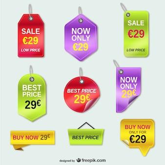 Tags de oferta de preços conjunto de vetores