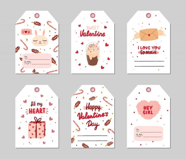 Tags de presente do dia dos namorados conjunto com elementos românticos e de beleza.