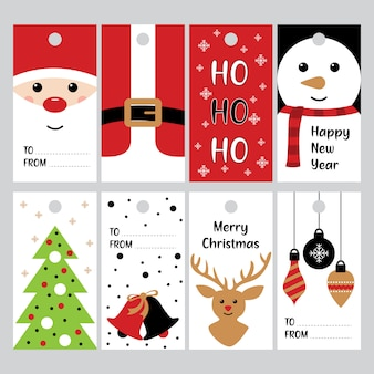 Tags de presentes de natal feliz para vetor de férias de inverno