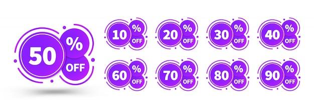 Tags de venda conjunto modelo de crachás