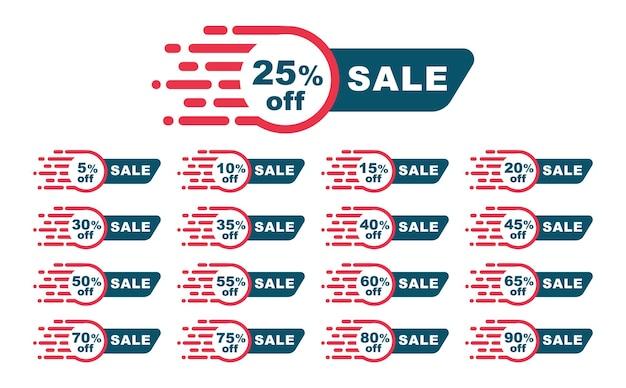 Tags de venda da coleção. desconto percentual. modelo de emblemas de vetor. etiqueta à venda.