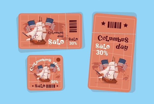 Tags de venda de férias sazonais de columbus day shopping desconto ícones américa descobrir cartão