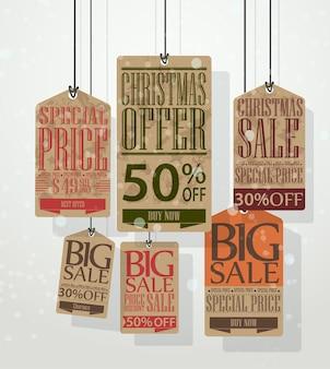 Tags de venda de natal e rótulos vintage