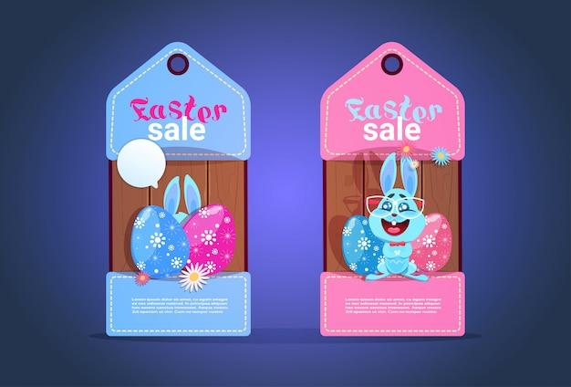Tags de venda de páscoa feliz com conceito de desconto sazonal de coelho e ovos colofrul