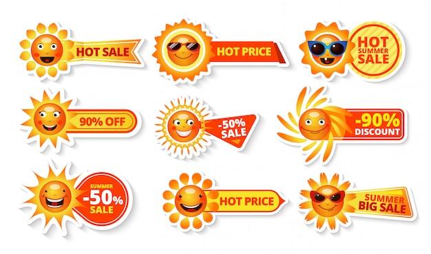 Tags de venda de verão com sol sorridente e preço quente com rótulos de grande desconto
