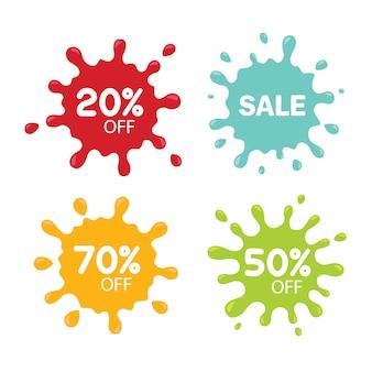 Tags de venda diferentes isoladas no branco. conceito de borrão