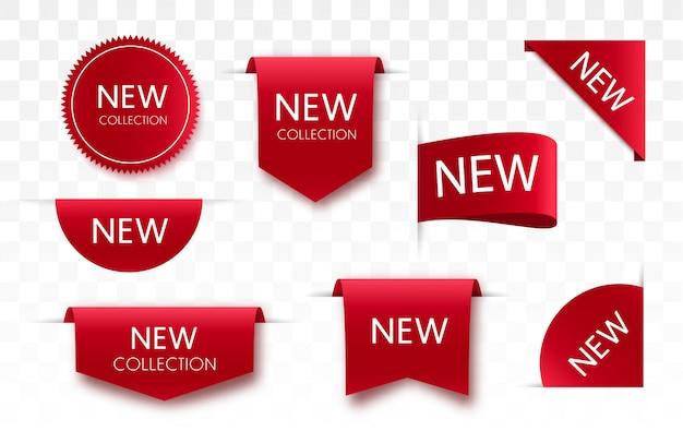 Tags de venda nova coleção. etiquetas 3d e crachás. fitas de rolagem vermelha. banners