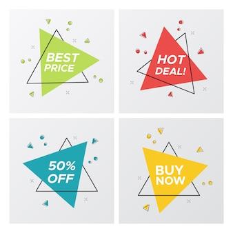 Tags de venda plana triângulo no estilo brilhante pop art