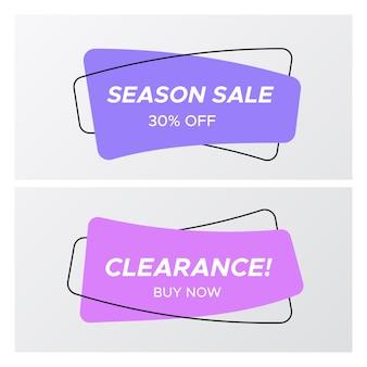 Tags de venda plana violeta e lilás com oferta promocional