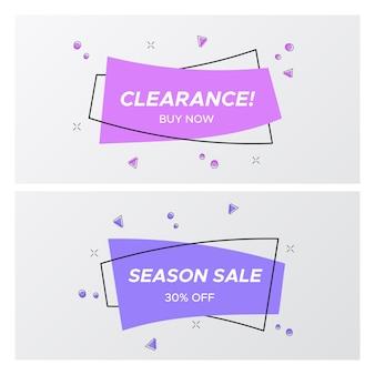 Tags de venda plana violeta na moda em forma de retângulo