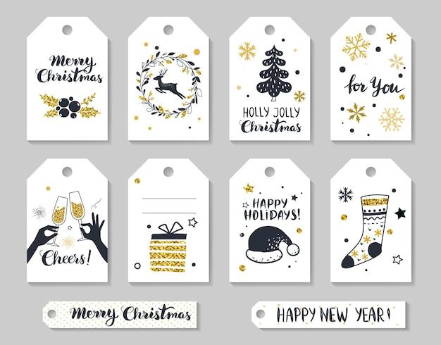 Tags gif de natal e ano novo conjunto de etiquetas de feriado desenhadas à mão para impressão