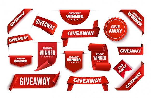 Tags ou rótulos de doação para publicação em mídia social. banners 3d de anúncio vermelho. fitas de concurso de doação.