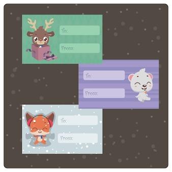 Tags presentes coloridos com personagens fofinhos de natal
