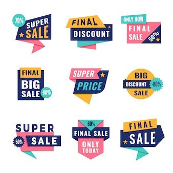 Tags promocionais. oferece grandes etiquetas de desconto para o modelo de publicidade com lugar para texto