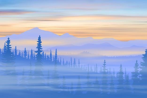 Taiga da montanha e picos ao nascer do sol